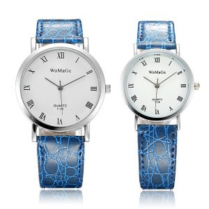 WOMAGE Roman Numberals Rould Dial PU Leather Couple Watch