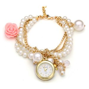 Fashion Women Rose Pearl Golden Bracelet Quartz Watch