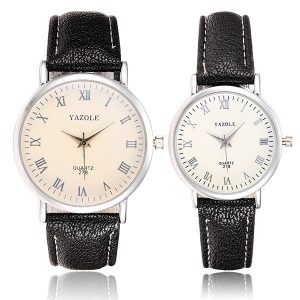 YAZOLE 278 Men Women Roman Numerals Round Dial Leather Quartz Couple Watch