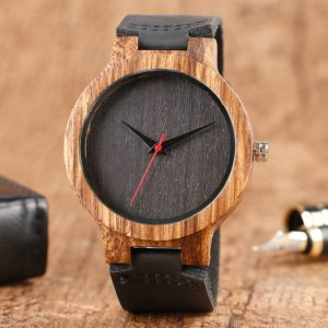 Top Gift Wood Watches restroom distinctive 100 percent Nature picket Bamboo camp-made Quartz gliding joint Watch Male Sport Red Hands Clock Masculino