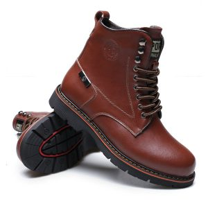 Leather Men Cotton Woolen Lining High Top Casual Outdoor Fashion Boots