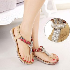 SOCOFY US Size 5-10 Women Summer Bohemian Beach Soft Comfortable Casual Fashion Flat Sandals Shoes