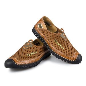 Men Breathable Casual Mesh Outdoor Genuine Leather Flat Shoes