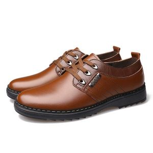 Comfy Men Lace-Up Leather Casual Business Oxfords Shoes