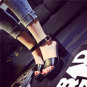 Women Ankle Strap Pumps Sandals Soft Sole Platform Chunky High Heels Shoes