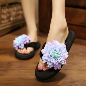Big Size Women Leisure Slippers Bohemia Flip Flops Flower Decoration Sandals