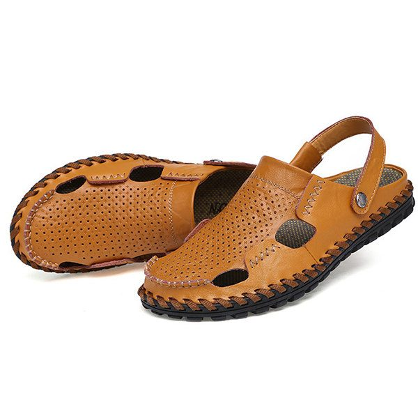 852427071a86cf Men Summer Hollow Out Casual Outdoor Fashion Leather Beach Soft Flat Sandal  Shoes