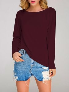 Gracila Casual Loose Long Sleeve Pure Color O-neck Knitted Tops