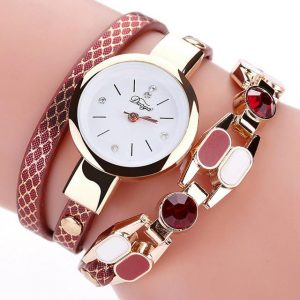 DUOYA D167 Fashionable Women Bracelet Watch Vintage Leather Strap Quartz Watch