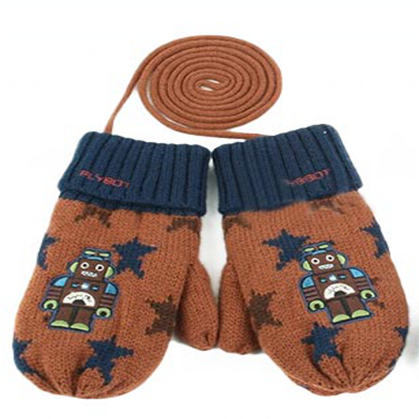 Baby Children Kids Robot Thermal Knitted Wool Gloves