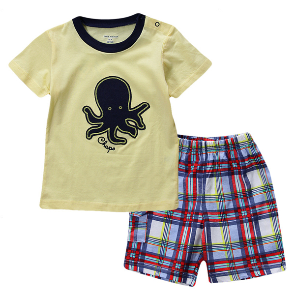 2015 New Lovely Octopus Yellow Baby Children Boy Pure Cotton Short Sleeve Shorts Suit