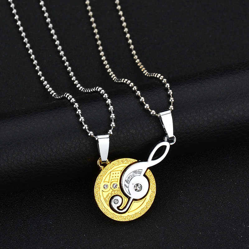 Musical Matching Music Note I Love You Couple Necklace