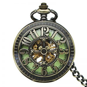 JIJIA JX008-2 Self-wind Mechanical Luminous Big Number Retro Pocket Watch