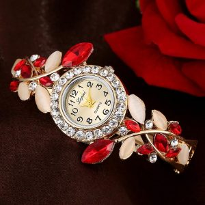 LVPAI XR1872 Vintage Dress Ladies Watch Colorful Crystal Quartz Bracelet Watch