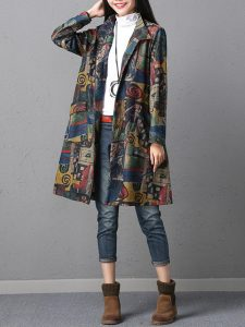 Vintage Graffiti Printed Turn-down Collar Women Long Sleeve Trench Coat