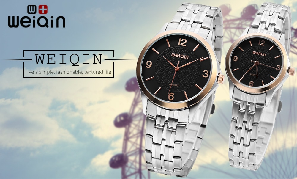 WEIQIN W00105 Couple Quartz Watch Water Resistance Stainless Steel Band Wristwatch