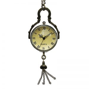 DEFFRUN Vintage Big Bells Roman Number Chain Retro Pocket Watch