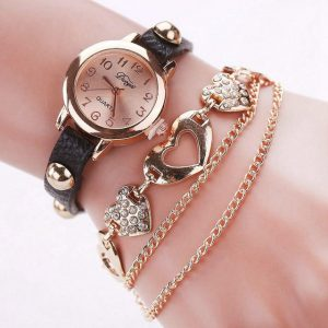 DUOYA D020 Fashionable Ladies Bracelet Watch Rose Gold Heart Leather Quartz Wrist Watch