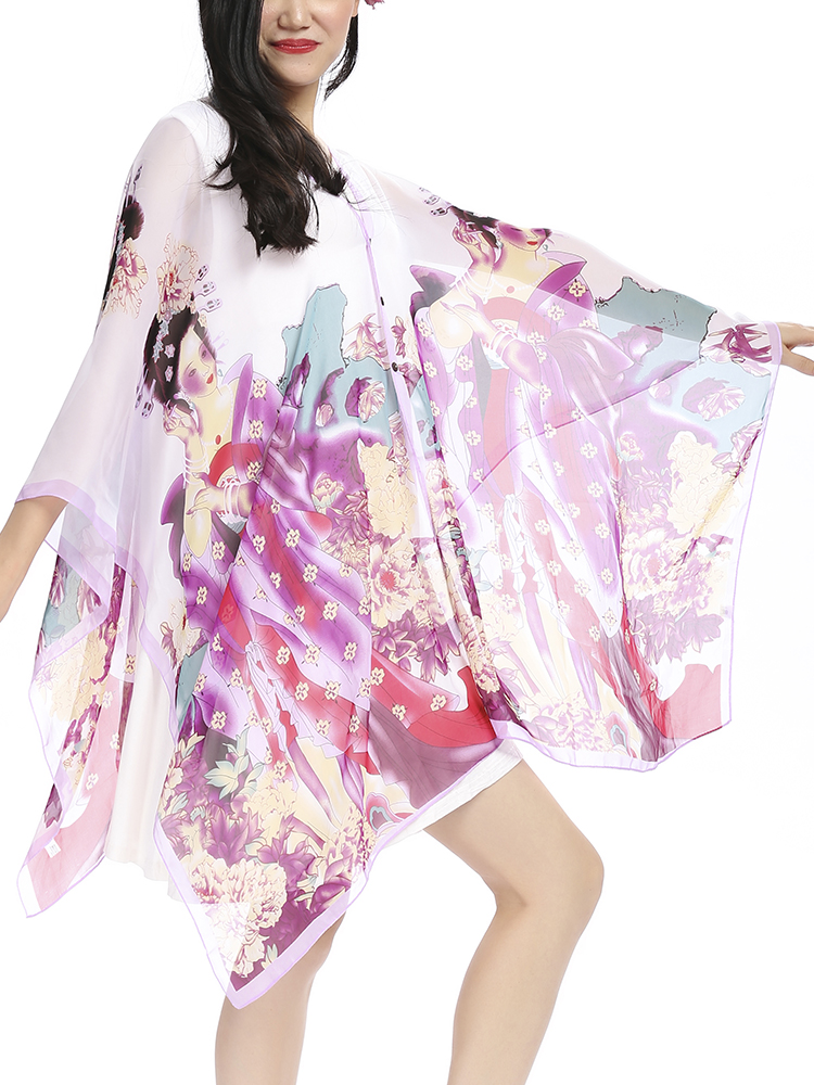 Women Large Cover Up Summer Multi-color Beach Scarves Veil Shawl