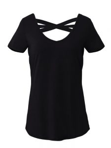 Sexy Women V-neck Backless Criss Cross Bandage Solid Color T-shirts