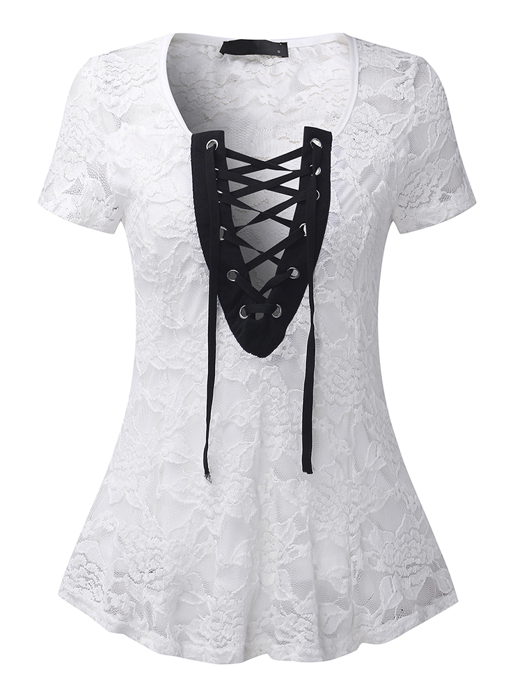 Sexy Women Lace Crochet Deep V-Neck Lace-Up Sheer Top Shirts