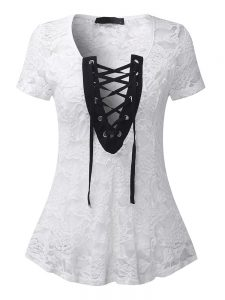 Sexy Women Lace Crochet Deep V-Necklace-Up Sheer Top Shirts