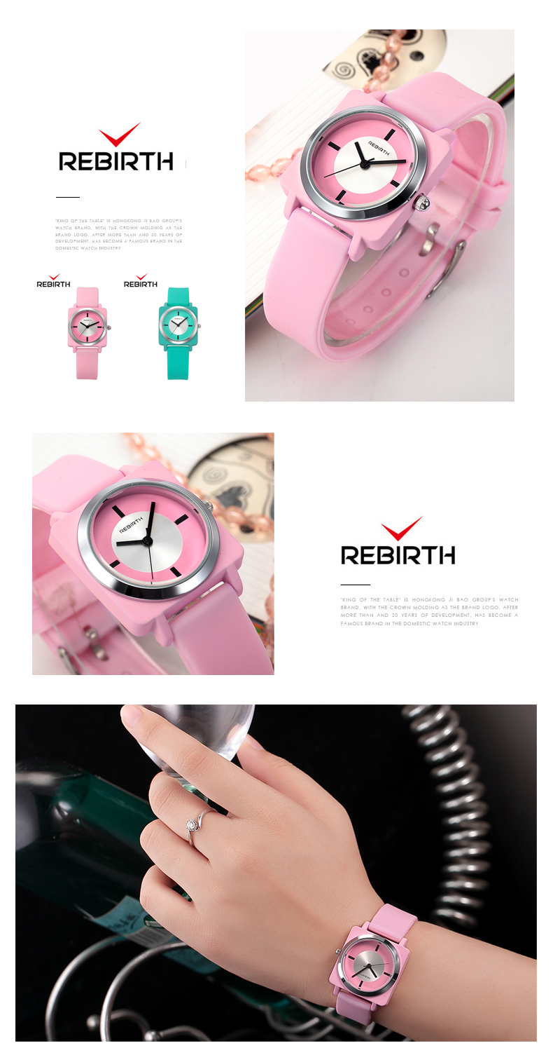 REBIRTH RE060 Silicon Strap Rectangle Dial Female Wristwatch Casual Style Gift Quartz Watch