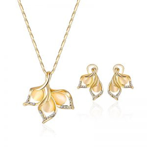 Elegant Gold Color Opal Rhinestone Jewelry Set Bright Exquisite Leaf Necklace Flower Earrings