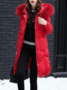 Women Thicken Pure Color Long Sleeve Hooded Down Coats