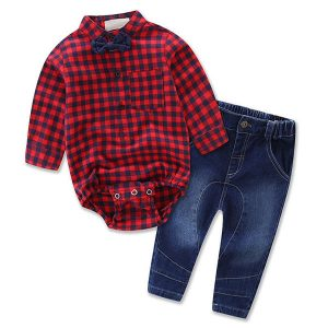 Little Boys Long Sleeve Bow Tie Plaid Shirt And Denim Pants Sets