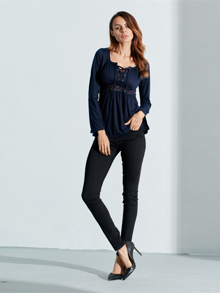 Sexy Women Low Cut V-Neck Lace Patchwork Shirts