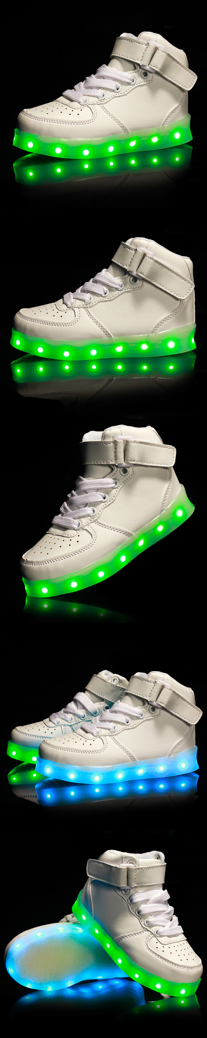 Autumn Winter New Fashion Boys Girls LED Light Shoes Kids USB Charge Colorful Casual Sneakers