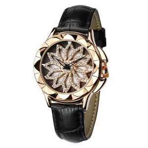 Rotation Diamond Ladies Wrist Watch Genuine Leather Strap Quartz Movement Watch