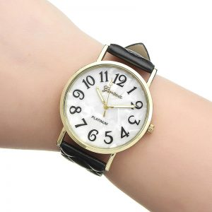 Casual Fashion Diagonal Plaid Band Gold Color Case Analog Quartz Women Wrist Watch