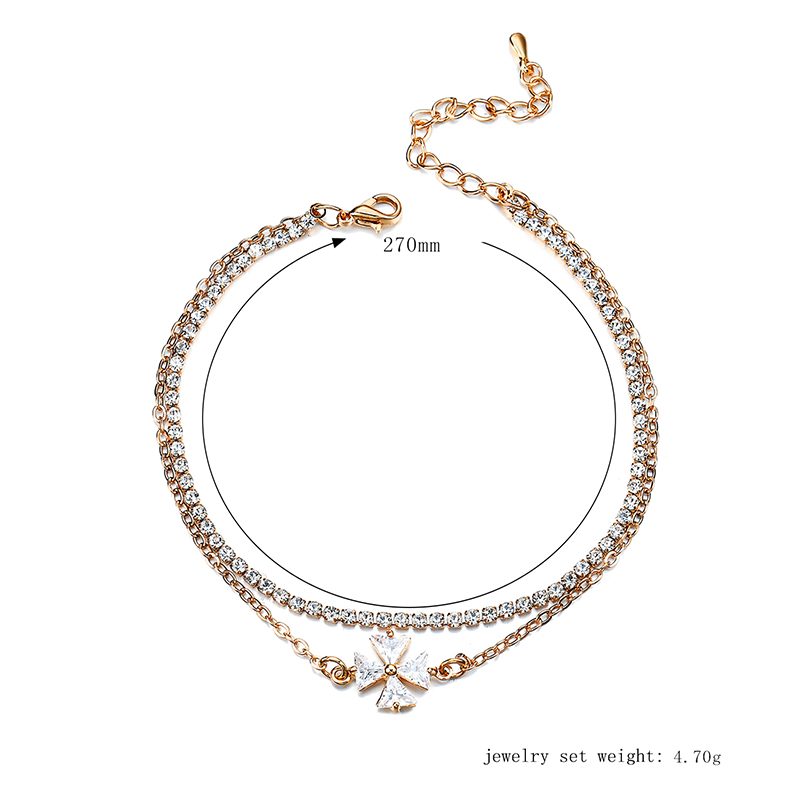 Gold Plated Zircon Flower Anklet Double Layer Foot Cup Chain Women Jewelry