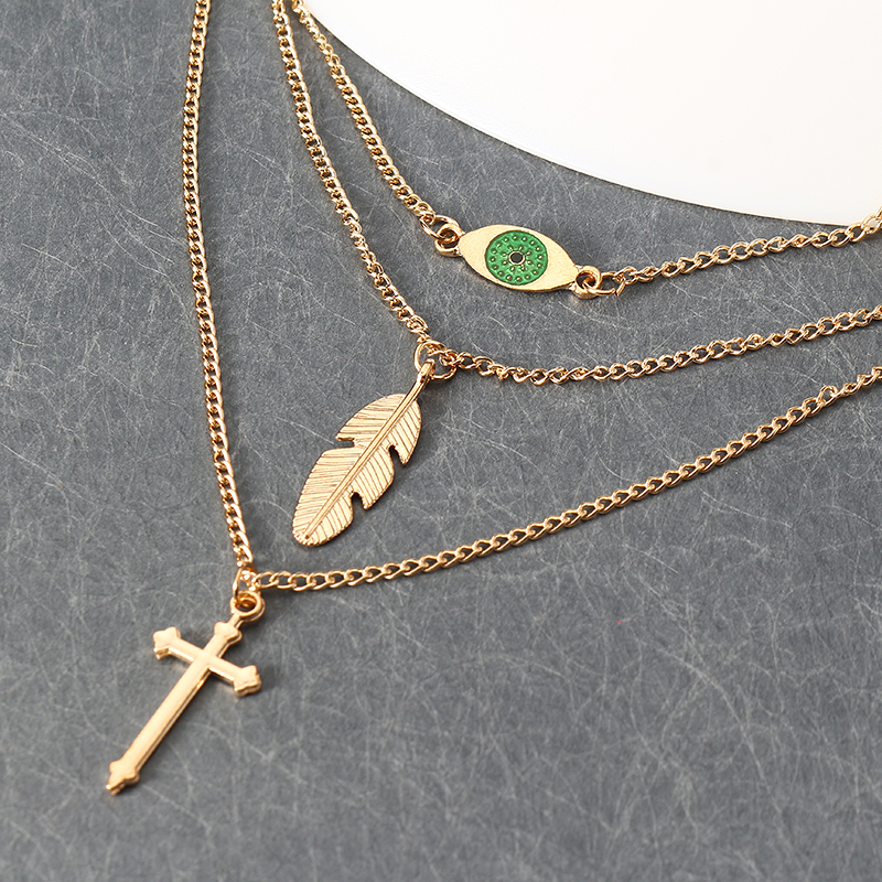 Cross and Leaf Pendant Clavicle Chain Bohemian Multilayer Necklace Wholesale for Women