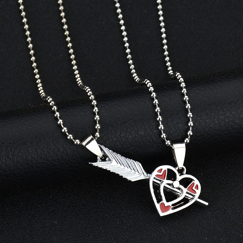 Stainless Steel Couple Arrow Hollow Heart Shape Necklace