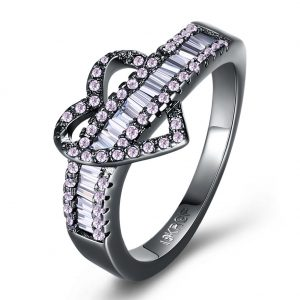 INALIS Women's Heart Zircon Finger Ring Charm Finger Ring for Women