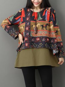 Gracila Ethnic Floral Print O-neck Layered Women Blouses