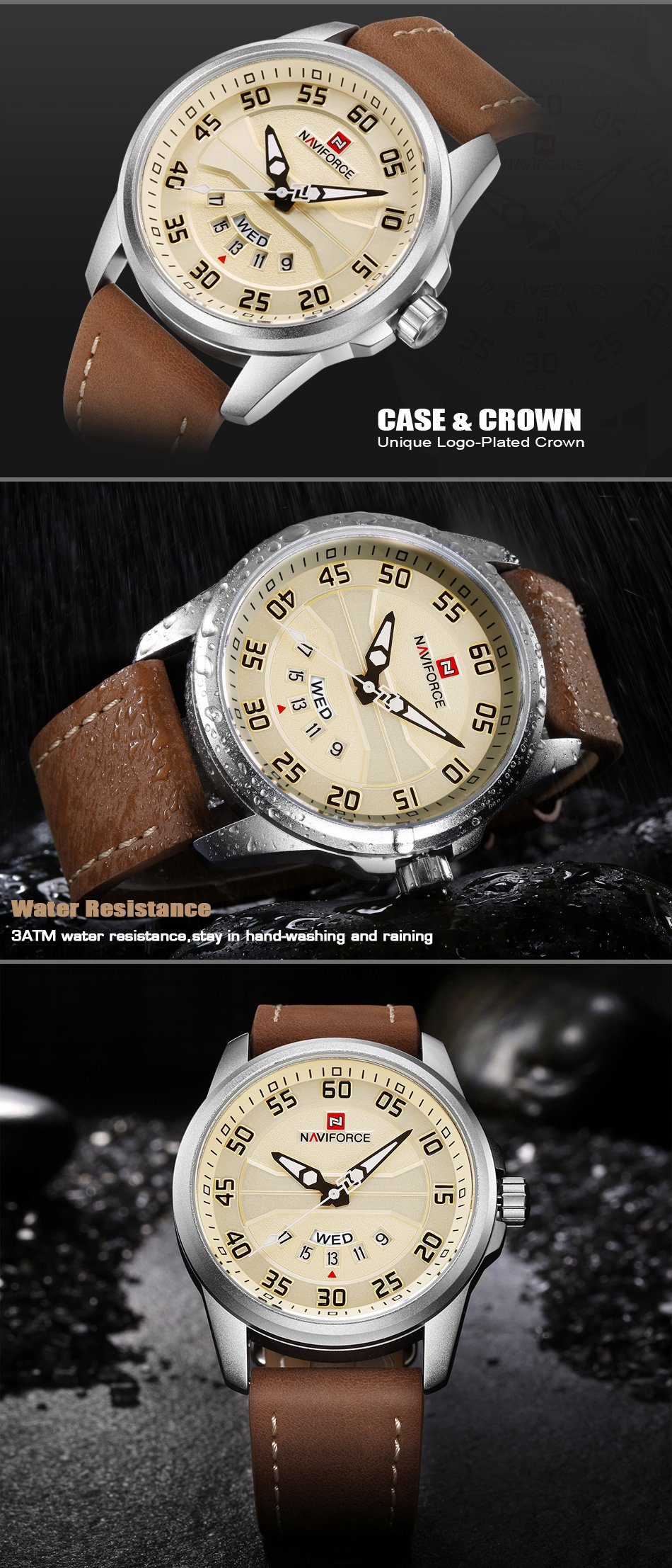 NAVIFORCE NF9124 Men Watch Sport Leather Strap Simple Dial M