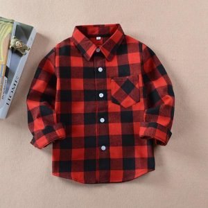 Kids Cotton Long Sleeve Button Down Plaid Shirts