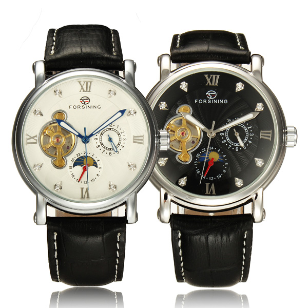 Frosining 800 Silver Case Mechanical Leather Band Wrist Watch