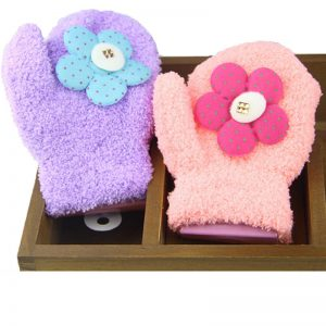 Korea Toddlers Kids Baby Warm Gloves Winter Mittens Coral Fleece Cute Knitted Sunflower