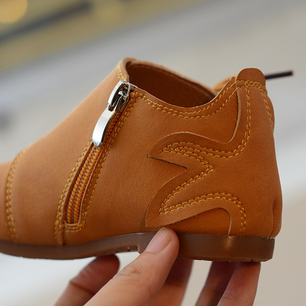 Spring Autumn Kids PU Leather Fake Laces Side Zipper Ankle Boots