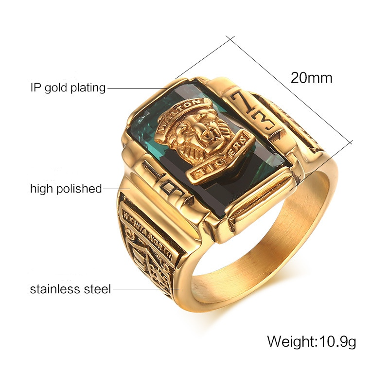 High Polished Walton Tiger Head Fashion Ring Stainless Steel Rings Halloween Gift for Men