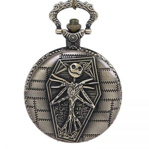 DEFFRUN Nightmare Little Devil Skull Pattern Round Case Quartz Pocket Watch