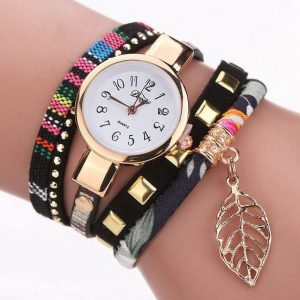 DUOYA D119 Ladies Bracelet Watch Leaf Fabric Retro Style Quartz Wrist Watch