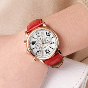 MEGIR 2058 Women Watch Luxury Roman Number Leather Strap Ladies Quartz Watch