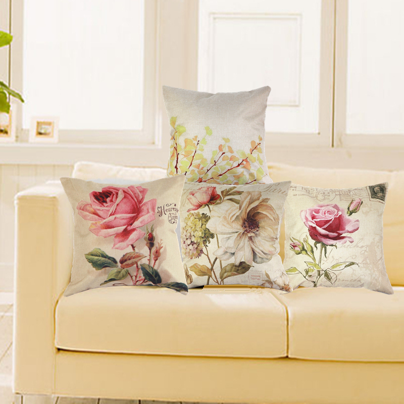 Linen And Cotton Canvas Pillow Case Cover Vintage Throw Cushion Rose Flowers Pillowcases