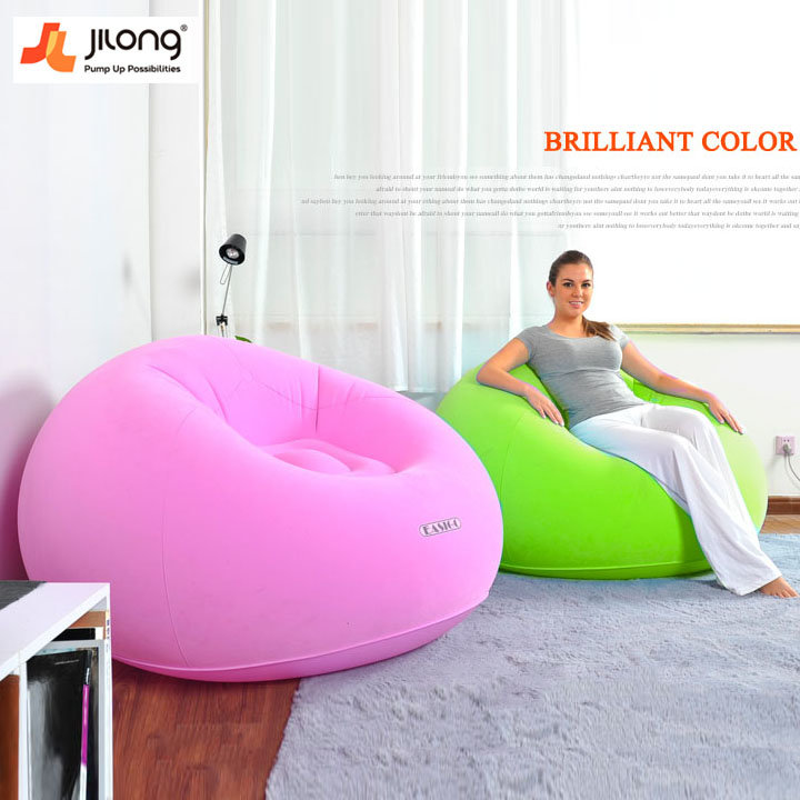 JILONG Creative Portable Flocking Fast Inflatable Lazy Sofa Chair Sleep Bed  Home Garden Furniture - VolgoPoint